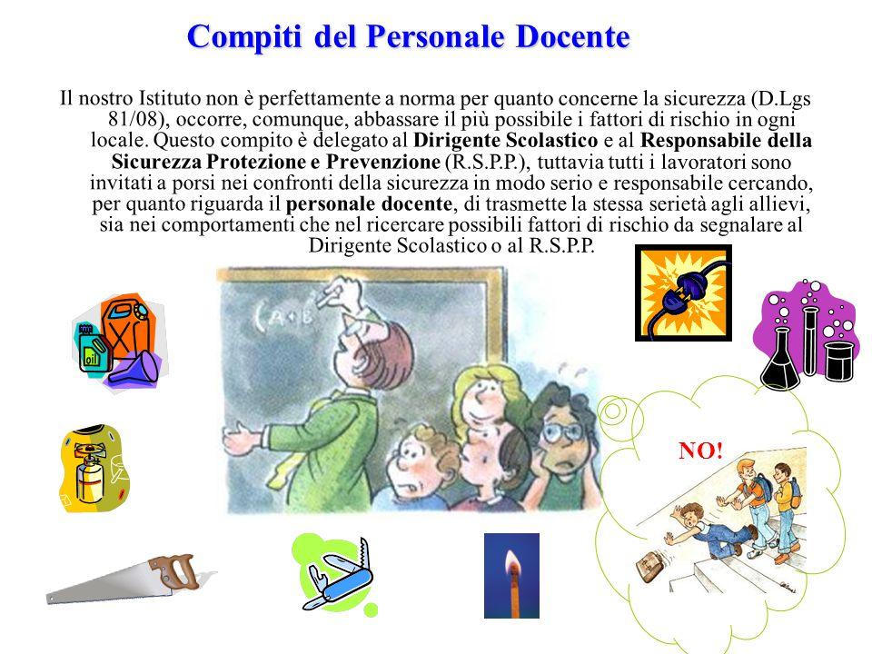 Compiti del Personale Docente Il nostro Istituto non è perfettamente a norma per quanto concerne la sicurezza (D.Lgs 81/08), occorre, comunque, abbass