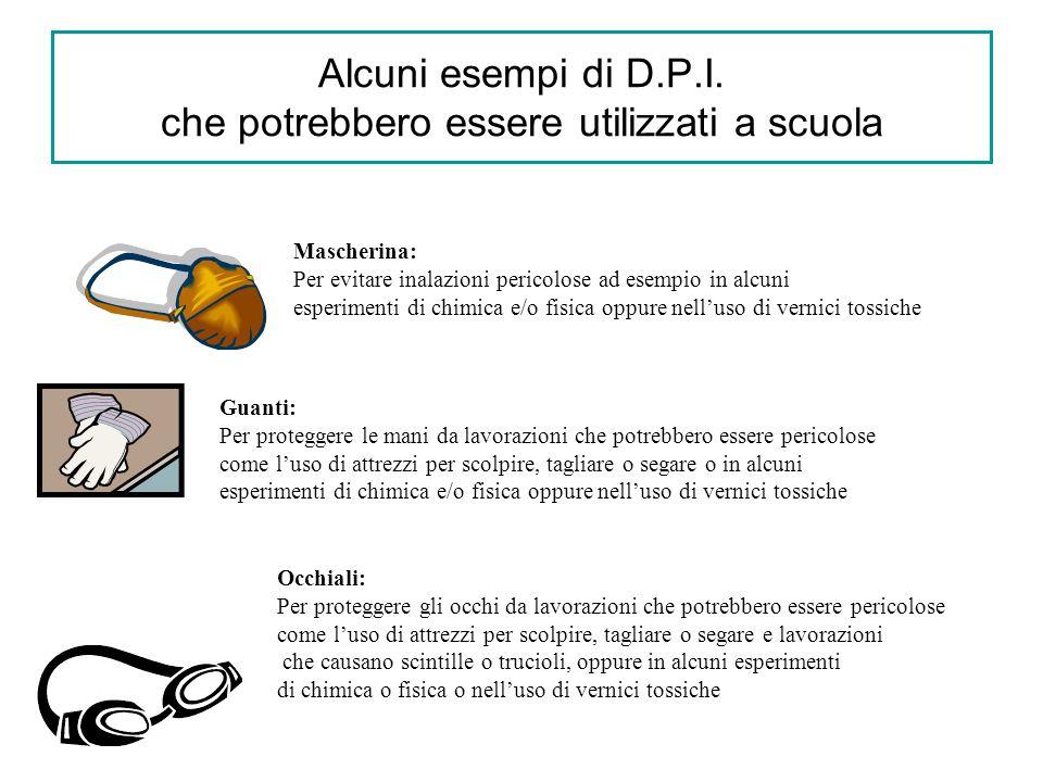 Alcuni esempi di D.P.I. che potrebbero essere utilizzati a scuola Mascherina: Per evitare inalazioni pericolose ad esempio in alcuni esperimenti di ch