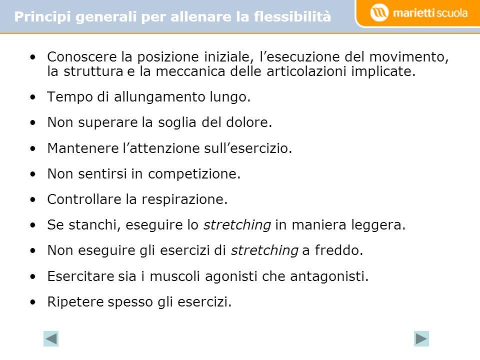 Conoscere la posizione iniziale, l'esecuzione del movimento, la struttura e la meccanica delle articolazioni implicate.