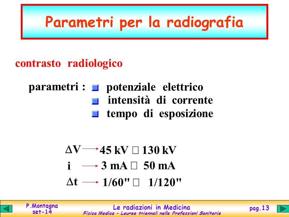 P.Montagna set-14 Le radiazioni in Medicina Fisica Medica – Lauree triennali nelle Professioni Sanitarie pag.13 Parametri per la radiografia contrasto radiologico parametri : potenziale elettrico intensità di corrente tempo di esposizione VV 45 kV  130 kV i 3 mA  50 mA tt 1/60  1/120