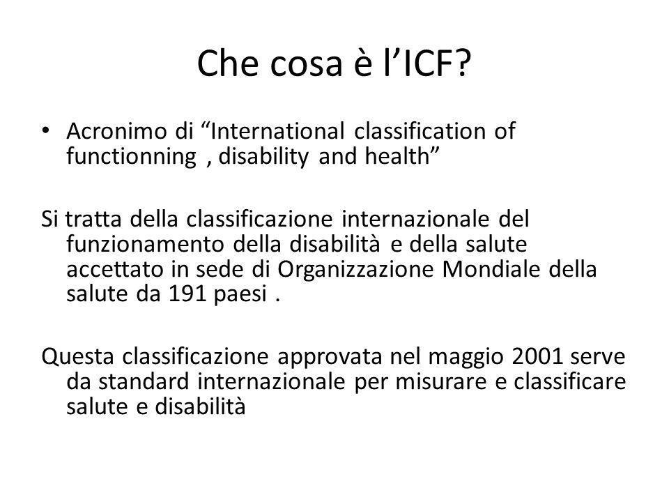 """Che cosa è l'ICF? Acronimo di """"International classification of functionning, disability and health"""" Si tratta della classificazione internazionale del"""