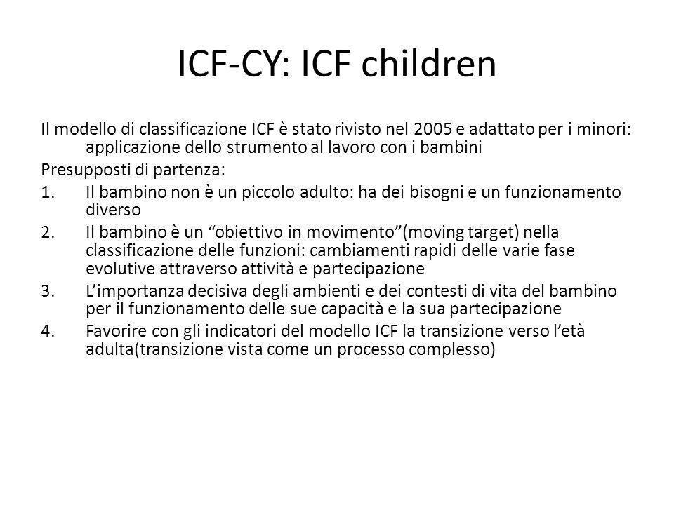 ICF-CY: ICF children Il modello di classificazione ICF è stato rivisto nel 2005 e adattato per i minori: applicazione dello strumento al lavoro con i