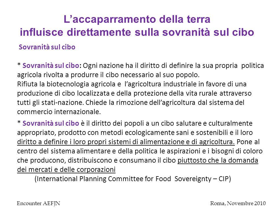 Encounter AEFJNRoma, Novembre 2010 Sovranità sul cibo * Sovranità sul cibo: Ogni nazione ha il diritto di definire la sua propria politica agricola rivolta a produrre il cibo necessario al suo popolo.