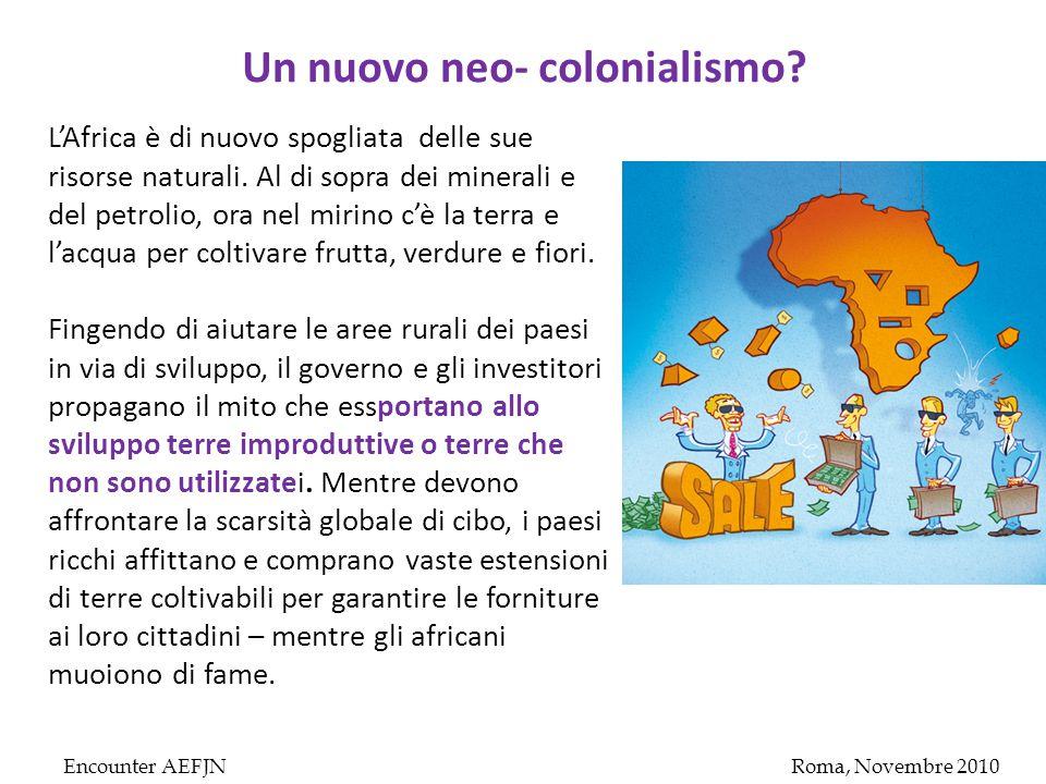 Encounter AEFJNRoma, Novembre 2010 Un nuovo neo- colonialismo.