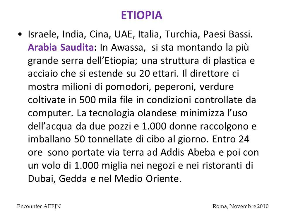 ETIOPIA Israele, India, Cina, UAE, Italia, Turchia, Paesi Bassi.