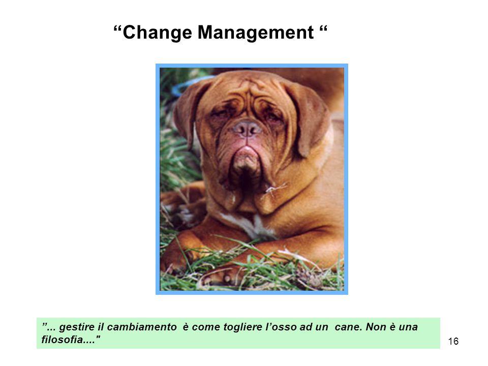 """16 """"Change Management """" """"... gestire il cambiamento è come togliere l'osso ad un cane. Non è una filosofia...."""
