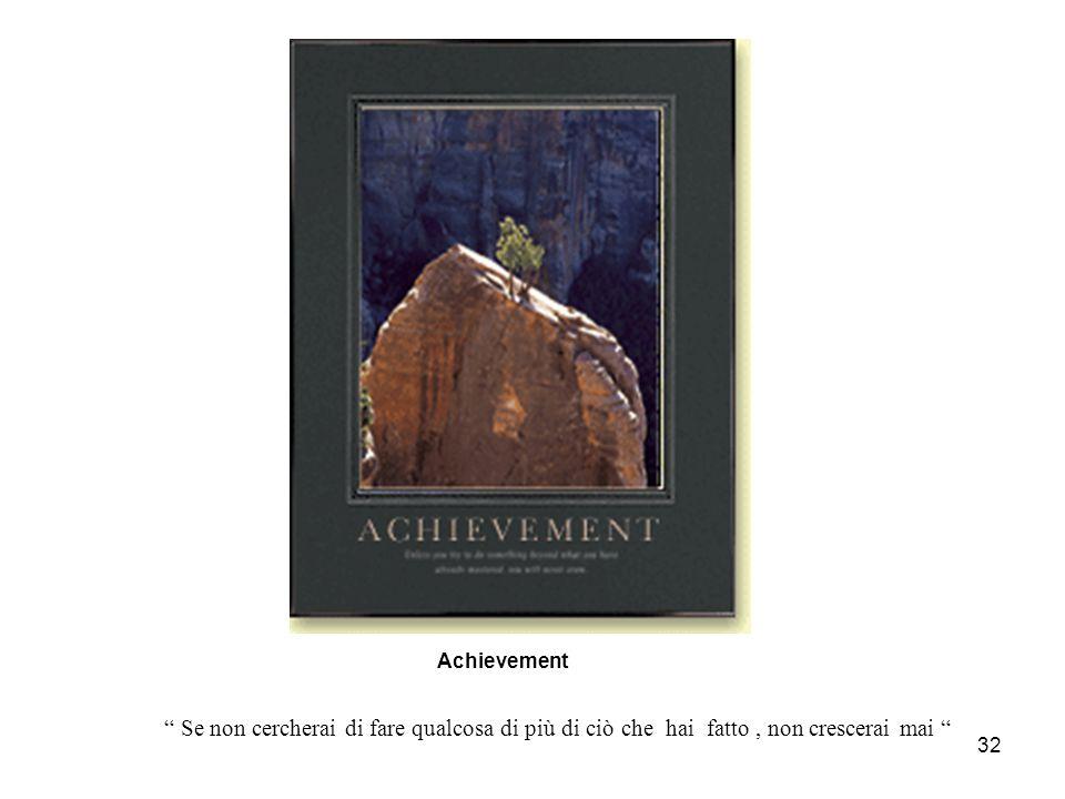 """32 Achievement """" Se non cercherai di fare qualcosa di più di ciò che hai fatto, non crescerai mai """""""