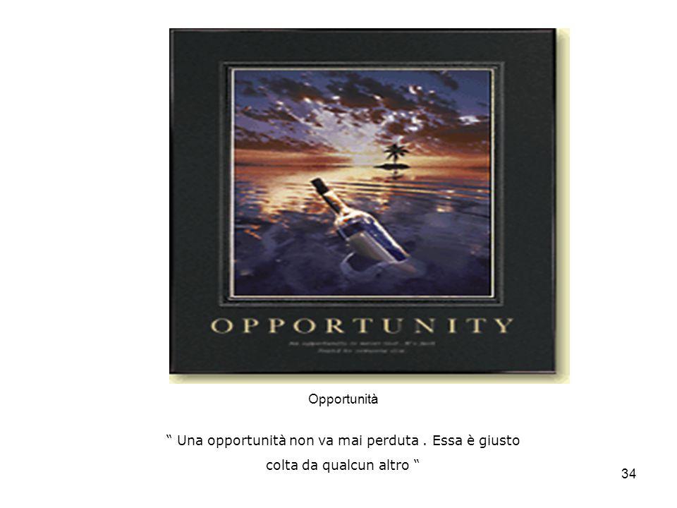 34 Opportunità Una opportunità non va mai perduta. Essa è giusto colta da qualcun altro