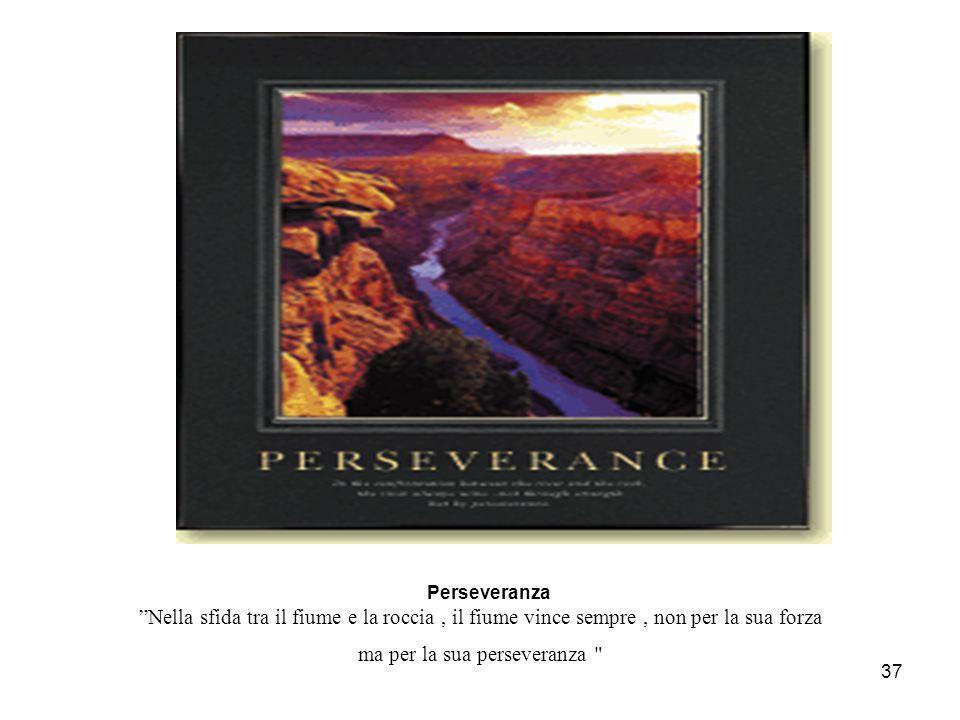 """37 P erseveranza """"Nella sfida tra il fiume e la roccia, il fiume vince sempre, non per la sua forza ma per la sua perseveranza"""