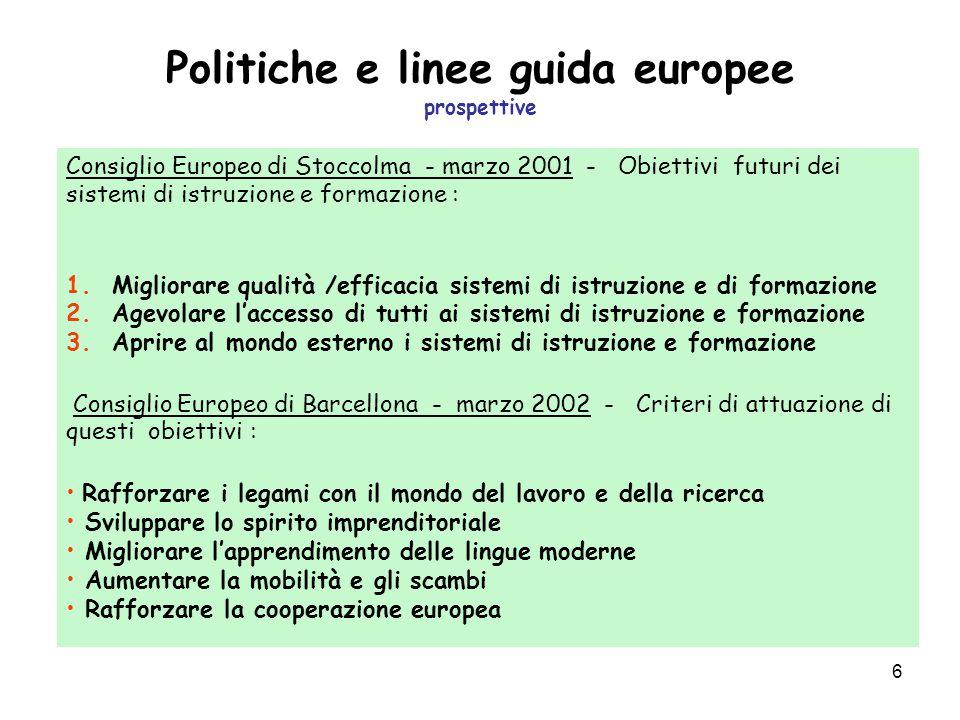 6 Politiche e linee guida europee prospettive Consiglio Europeo di Stoccolma - marzo 2001 - Obiettivi futuri dei sistemi di istruzione e formazione : 1.