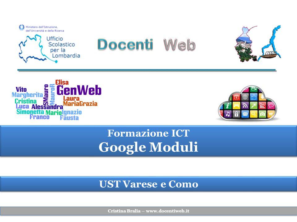 UST Varese e Como Formazione ICT Google Moduli Formazione ICT Google Moduli Cristina Bralia – www.docentiweb.it