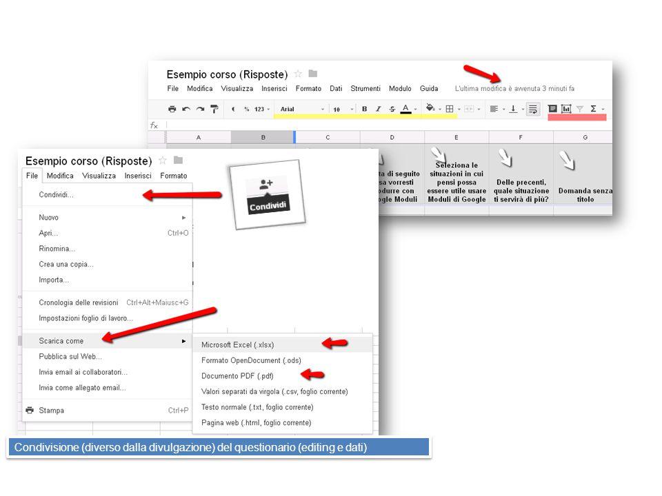 Condivisione (diverso dalla divulgazione) del questionario (editing e dati)