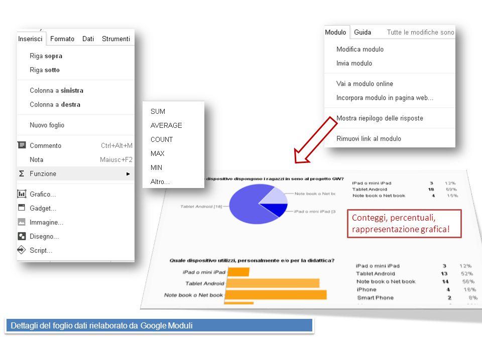 Dettagli del foglio dati rielaborato da Google Moduli Conteggi, percentuali, rappresentazione grafica!