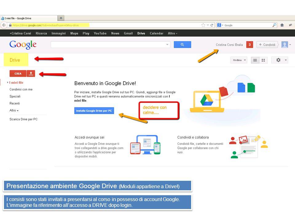 Presentazione ambiente Google Drive (Moduli appartiene a Drive!) I corsisti sono stati invitati a presentarsi al corso in possesso di account Google.