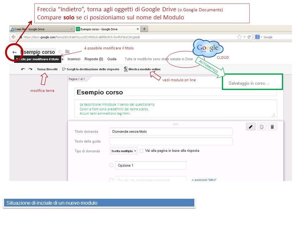 Freccia Indietro , torna agli oggetti di Google Drive (o Google Documents) Compare solo se ci posizioniamo sul nome del Modulo modifica tema vedi modulo on line CLOUD è possibile modificare il titolo La descrizione introduce il senso del questionario.