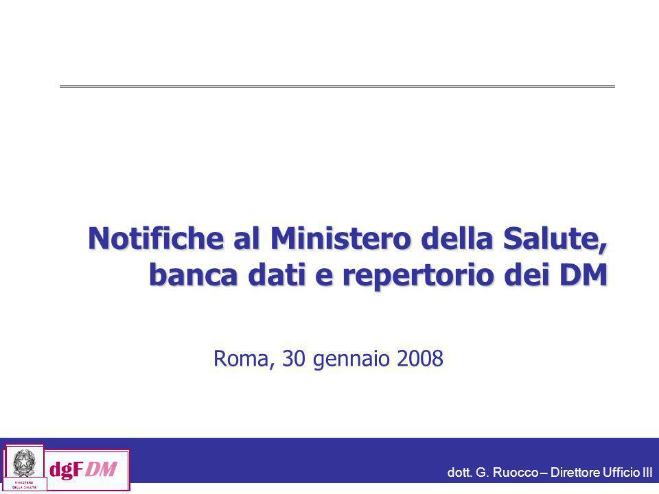 dott. G. Ruocco – Direttore Ufficio III dgFDM MINISTERO DELLA SALUTE Notifiche al Ministero della Salute, banca dati e repertorio dei DM Roma, 30 genn