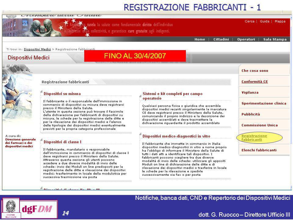 Notifiche, banca dati, CND e Repertorio dei Dispositivi Medici dott. G. Ruocco – Direttore Ufficio III dgFDM MINISTERO DELLA SALUTE 14 REGISTRAZIONE F