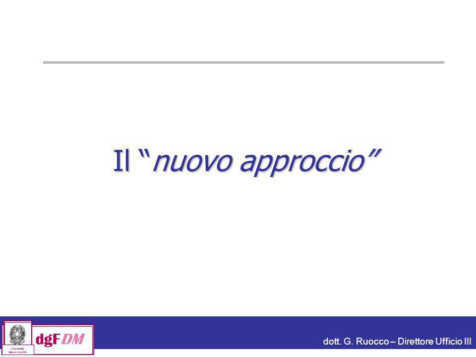 """dott. G. Ruocco – Direttore Ufficio III dgFDM MINISTERO DELLA SALUTE Il """"nuovo approccio"""""""
