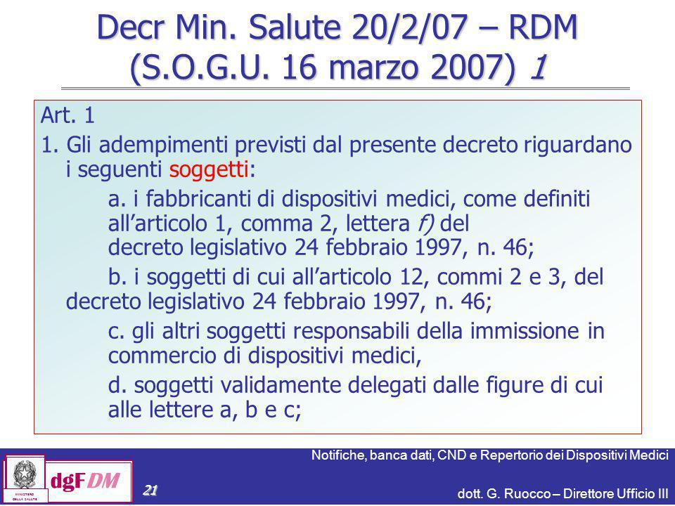 Notifiche, banca dati, CND e Repertorio dei Dispositivi Medici dott. G. Ruocco – Direttore Ufficio III dgFDM MINISTERO DELLA SALUTE 21 Decr Min. Salut