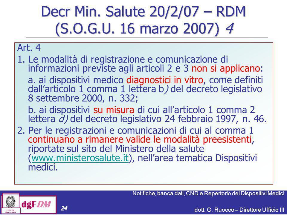 Notifiche, banca dati, CND e Repertorio dei Dispositivi Medici dott. G. Ruocco – Direttore Ufficio III dgFDM MINISTERO DELLA SALUTE 24 Decr Min. Salut