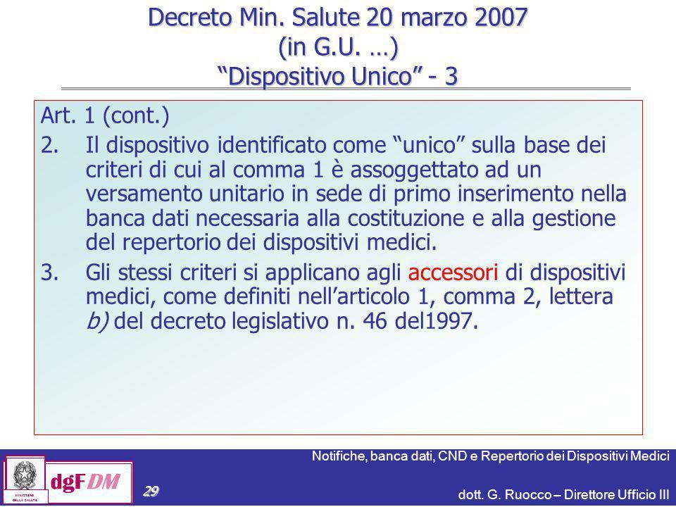 Notifiche, banca dati, CND e Repertorio dei Dispositivi Medici dott. G. Ruocco – Direttore Ufficio III dgFDM MINISTERO DELLA SALUTE 29 Art. 1 (cont.)