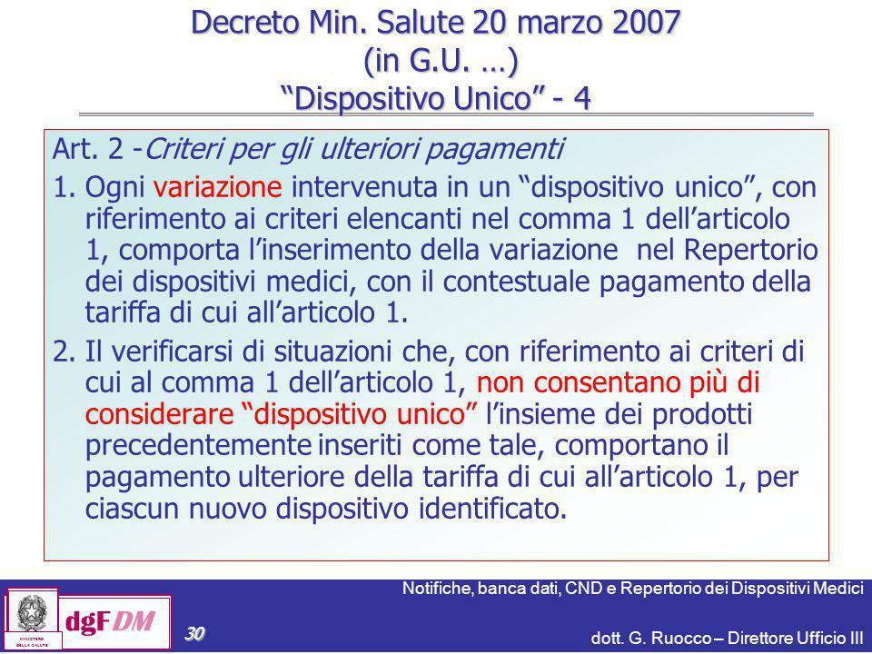 Notifiche, banca dati, CND e Repertorio dei Dispositivi Medici dott. G. Ruocco – Direttore Ufficio III dgFDM MINISTERO DELLA SALUTE 30 Decreto Min. Sa
