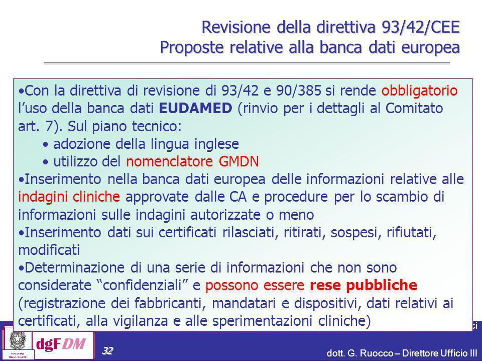 Notifiche, banca dati, CND e Repertorio dei Dispositivi Medici dott. G. Ruocco – Direttore Ufficio III dgFDM MINISTERO DELLA SALUTE 32 Con la direttiv