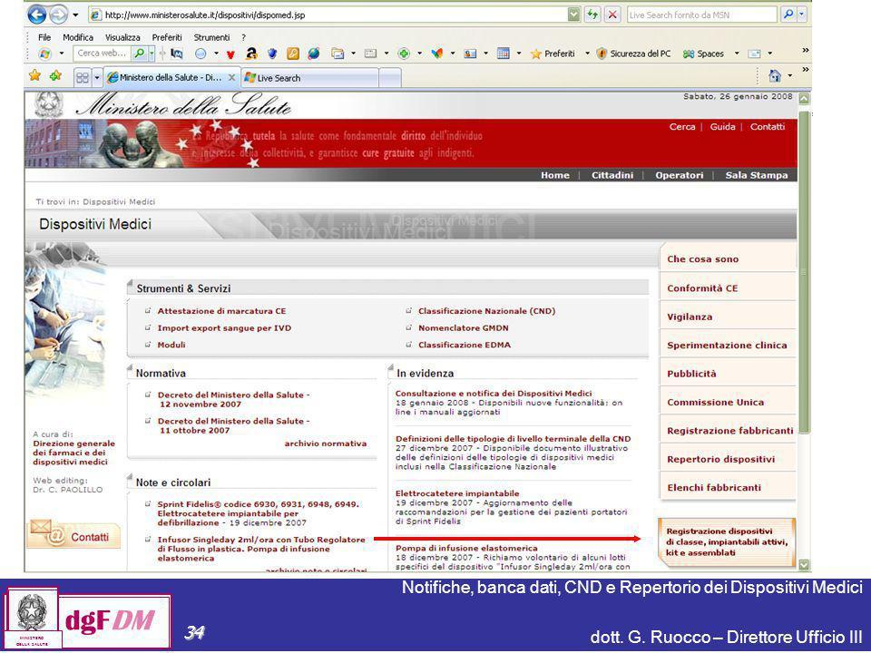 Notifiche, banca dati, CND e Repertorio dei Dispositivi Medici dott. G. Ruocco – Direttore Ufficio III dgFDM MINISTERO DELLA SALUTE 34