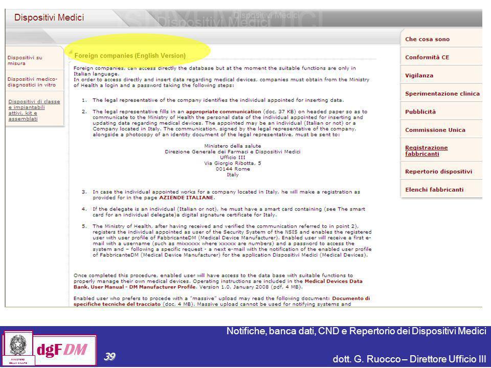 Notifiche, banca dati, CND e Repertorio dei Dispositivi Medici dott. G. Ruocco – Direttore Ufficio III dgFDM MINISTERO DELLA SALUTE 39