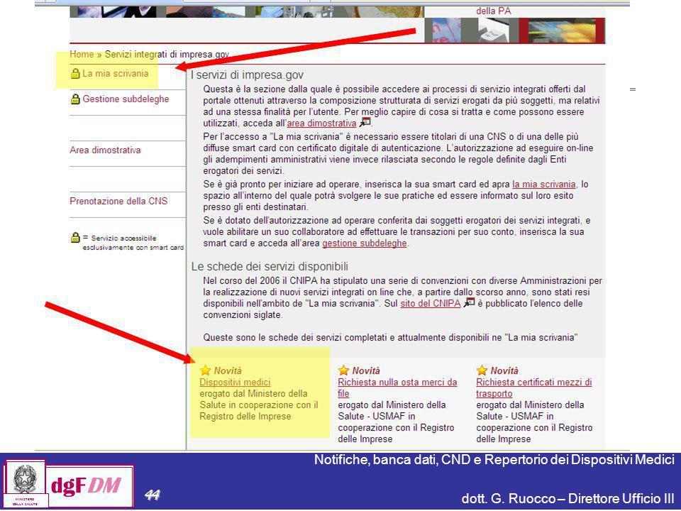 Notifiche, banca dati, CND e Repertorio dei Dispositivi Medici dott. G. Ruocco – Direttore Ufficio III dgFDM MINISTERO DELLA SALUTE 44