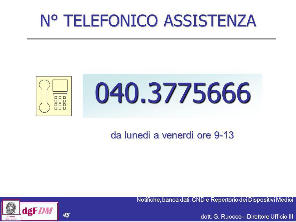 Notifiche, banca dati, CND e Repertorio dei Dispositivi Medici dott. G. Ruocco – Direttore Ufficio III dgFDM MINISTERO DELLA SALUTE 45 N° TELEFONICO A