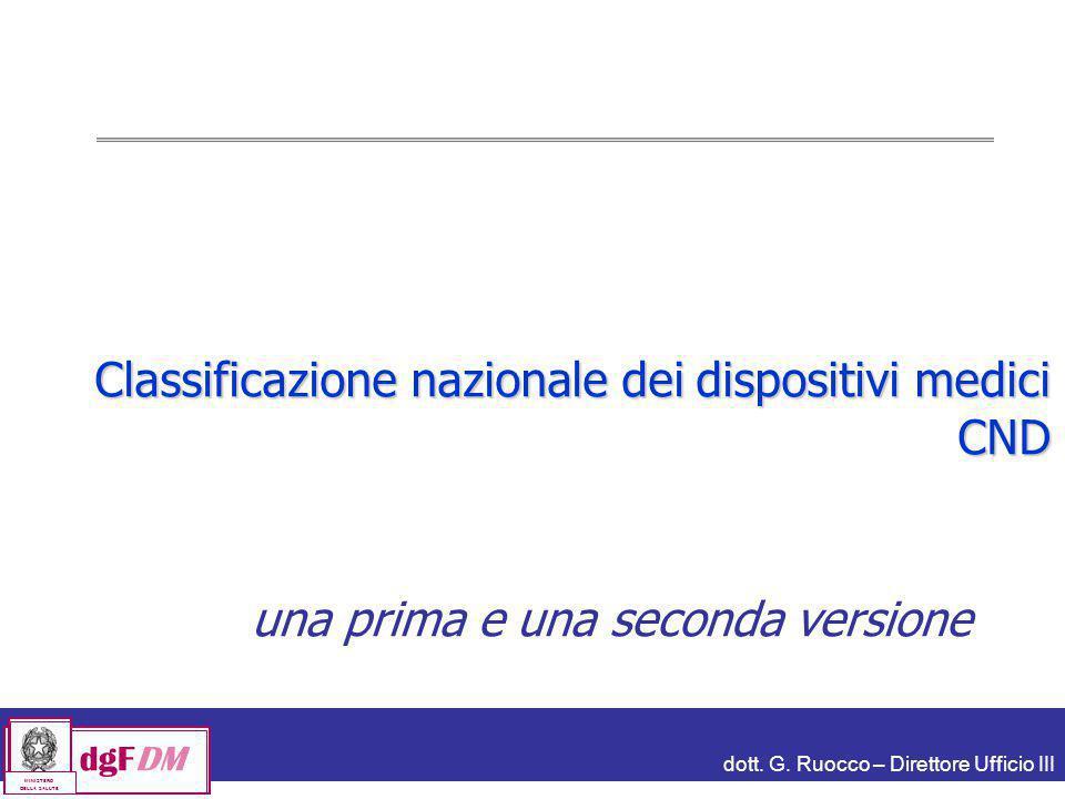 dott. G. Ruocco – Direttore Ufficio III dgFDM MINISTERO DELLA SALUTE Classificazione nazionale dei dispositivi medici CND una prima e una seconda vers