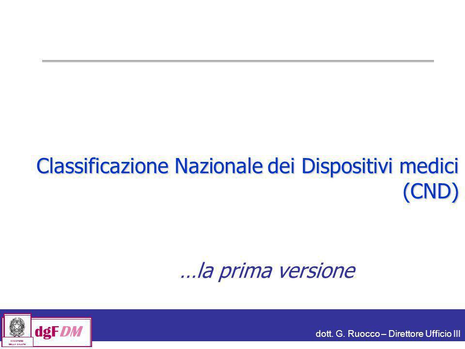 dott. G. Ruocco – Direttore Ufficio III dgFDM MINISTERO DELLA SALUTE Classificazione Nazionale dei Dispositivi medici (CND) …la prima versione