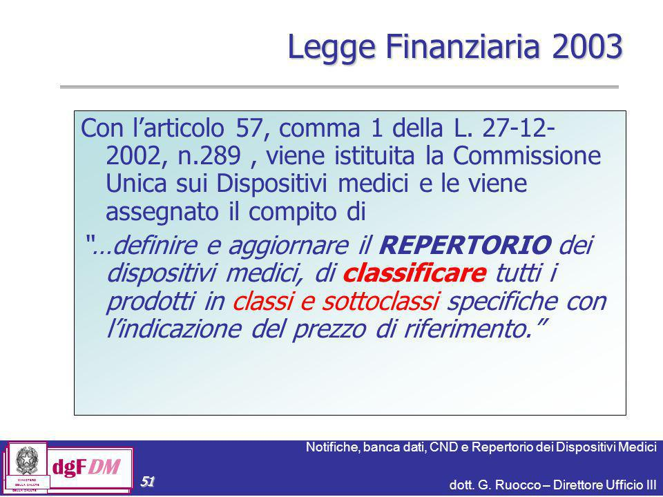 Notifiche, banca dati, CND e Repertorio dei Dispositivi Medici dott. G. Ruocco – Direttore Ufficio III dgFDM MINISTERO DELLA SALUTE 51 Legge Finanziar