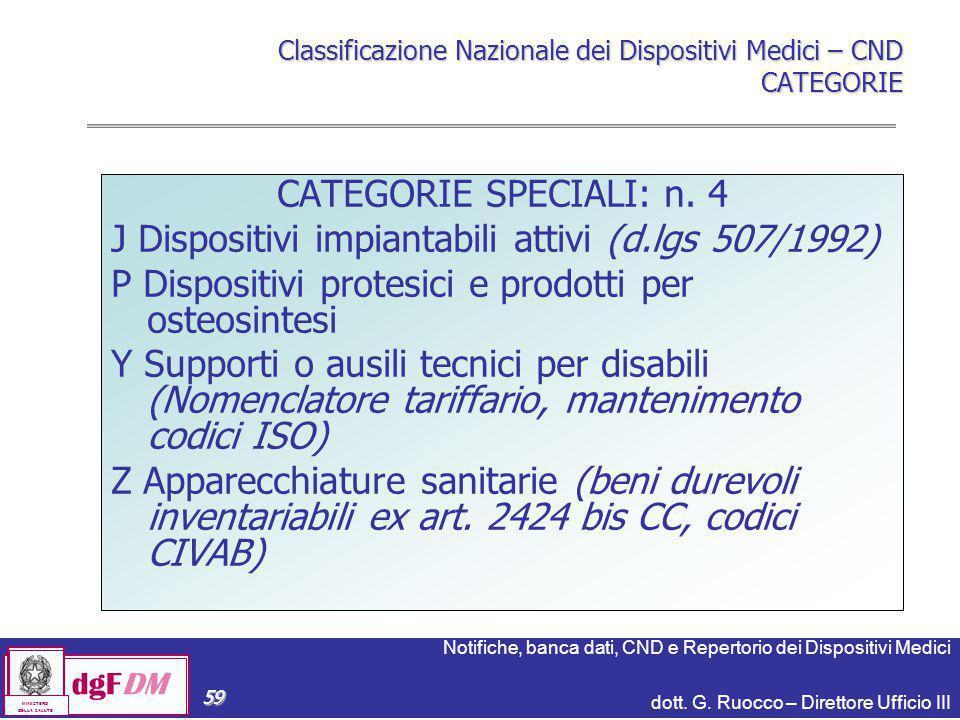 Notifiche, banca dati, CND e Repertorio dei Dispositivi Medici dott. G. Ruocco – Direttore Ufficio III dgFDM MINISTERO DELLA SALUTE 59 Classificazione