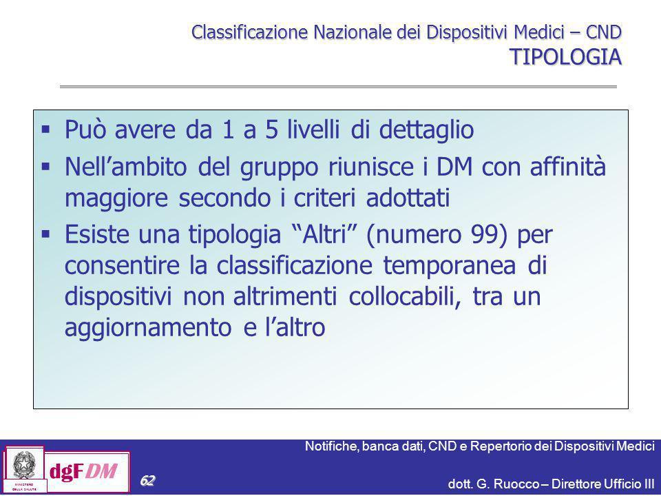 Notifiche, banca dati, CND e Repertorio dei Dispositivi Medici dott. G. Ruocco – Direttore Ufficio III dgFDM MINISTERO DELLA SALUTE 62 Classificazione