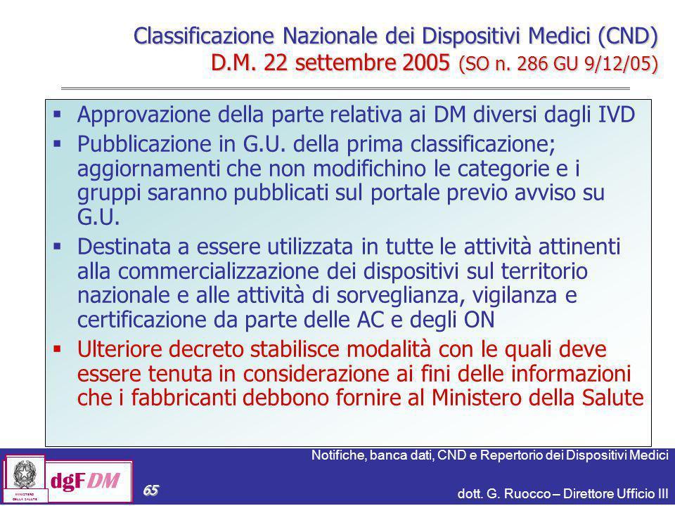 Notifiche, banca dati, CND e Repertorio dei Dispositivi Medici dott. G. Ruocco – Direttore Ufficio III dgFDM MINISTERO DELLA SALUTE 65  Approvazione