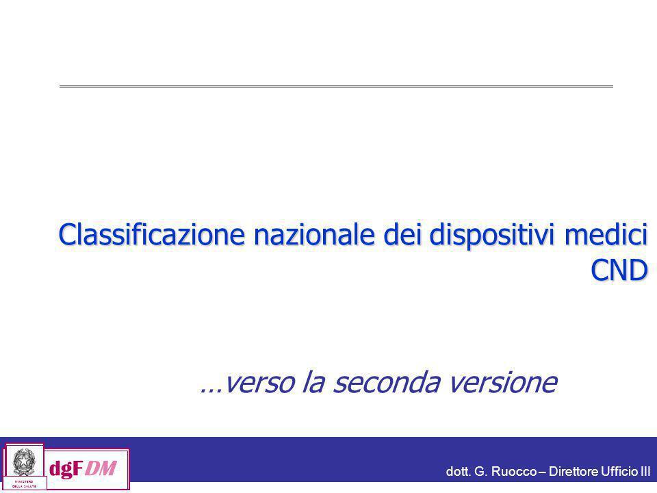 dott. G. Ruocco – Direttore Ufficio III dgFDM MINISTERO DELLA SALUTE Classificazione nazionale dei dispositivi medici CND …verso la seconda versione