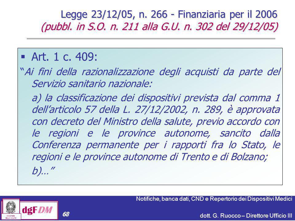 Notifiche, banca dati, CND e Repertorio dei Dispositivi Medici dott. G. Ruocco – Direttore Ufficio III dgFDM MINISTERO DELLA SALUTE 68  Art. 1 c. 409