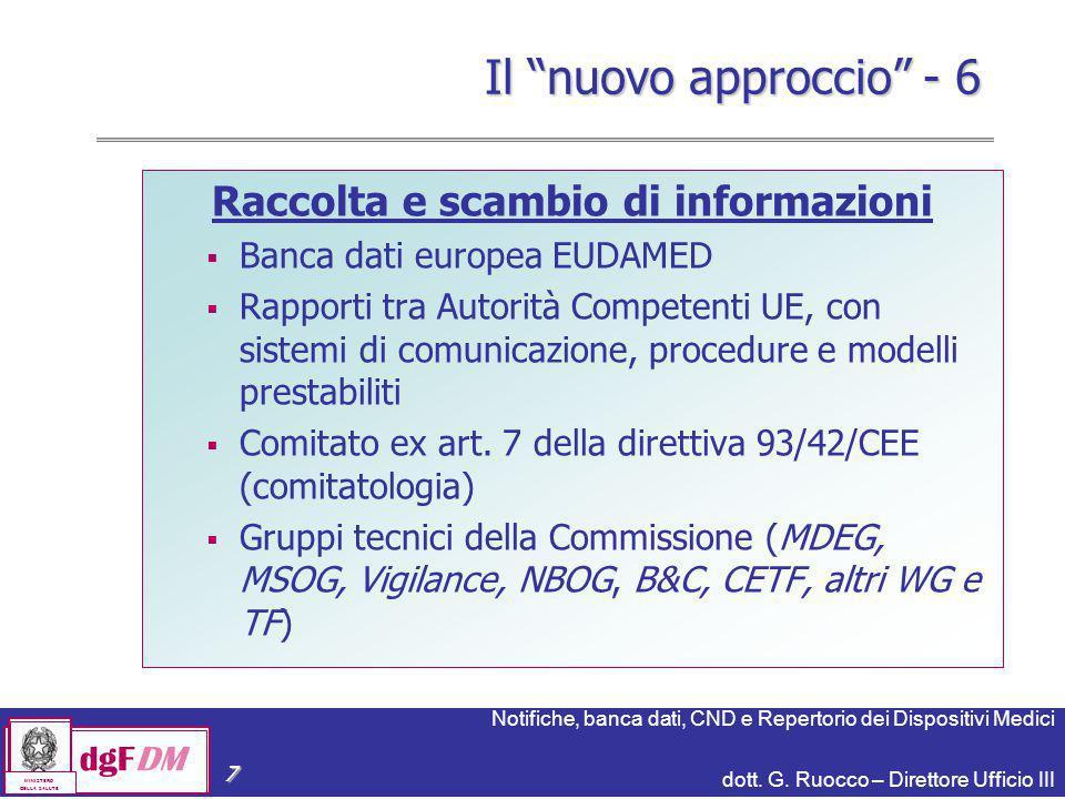 Notifiche, banca dati, CND e Repertorio dei Dispositivi Medici dott. G. Ruocco – Direttore Ufficio III dgFDM MINISTERO DELLA SALUTE 7 Raccolta e scamb