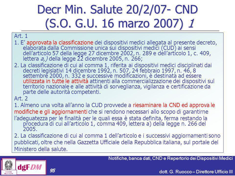 Notifiche, banca dati, CND e Repertorio dei Dispositivi Medici dott. G. Ruocco – Direttore Ufficio III dgFDM MINISTERO DELLA SALUTE 95 Decr Min. Salut