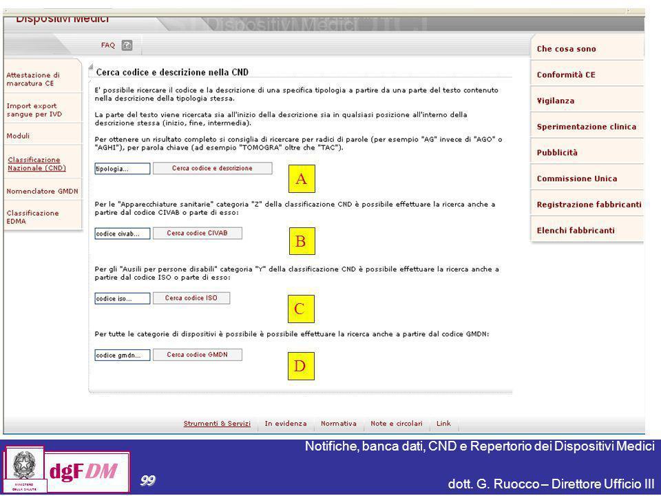 Notifiche, banca dati, CND e Repertorio dei Dispositivi Medici dott. G. Ruocco – Direttore Ufficio III dgFDM MINISTERO DELLA SALUTE 99 dgFDM MINISTERO