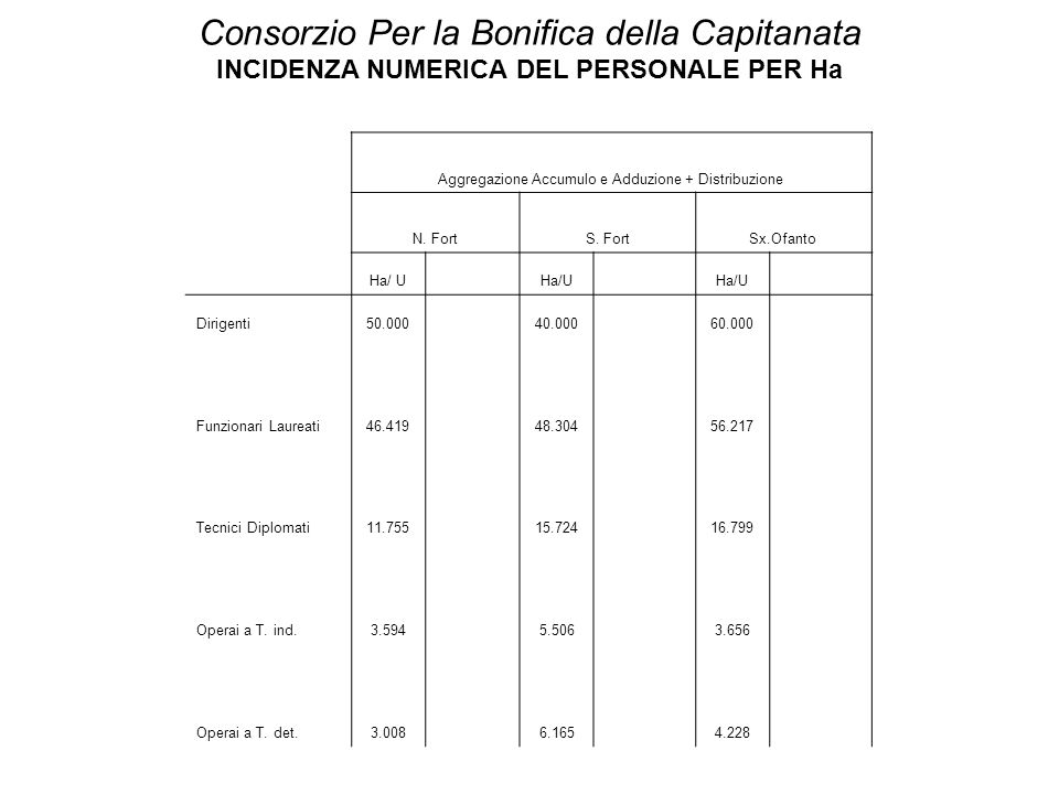 Consorzio Per la Bonifica della Capitanata INCIDENZA NUMERICA DEL PERSONALE PER Ha Aggregazione Accumulo e Adduzione + Distribuzione N. FortS. FortSx.