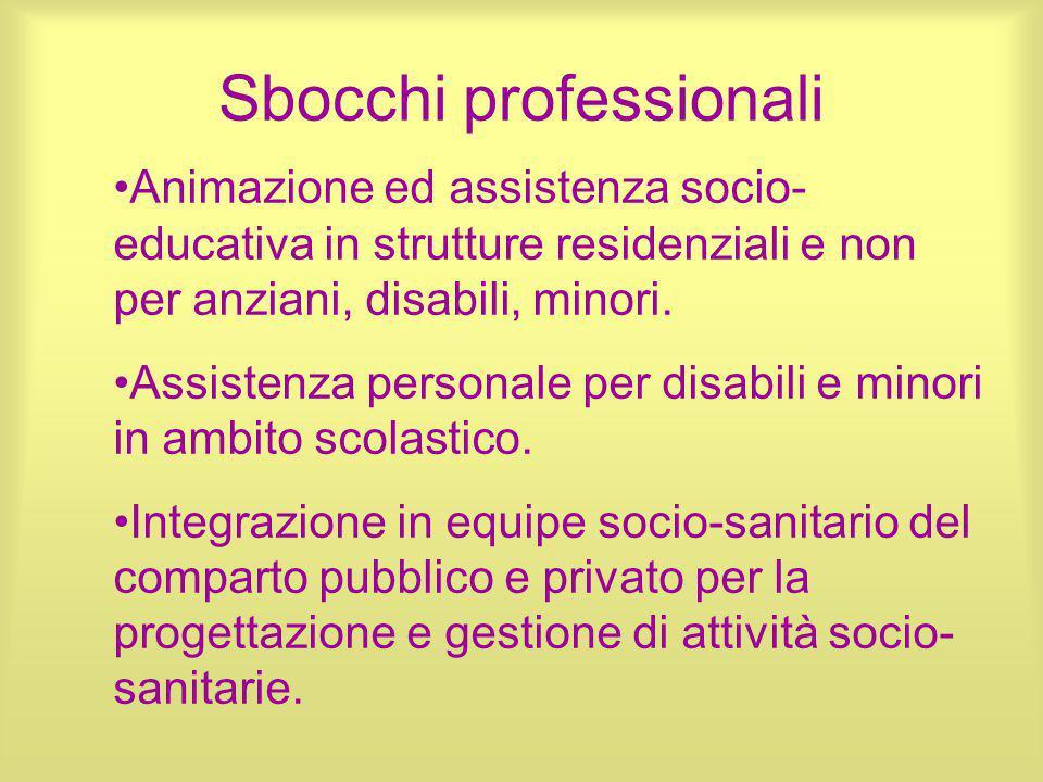 Sbocchi professionali Animazione ed assistenza socio- educativa in strutture residenziali e non per anziani, disabili, minori. Assistenza personale pe