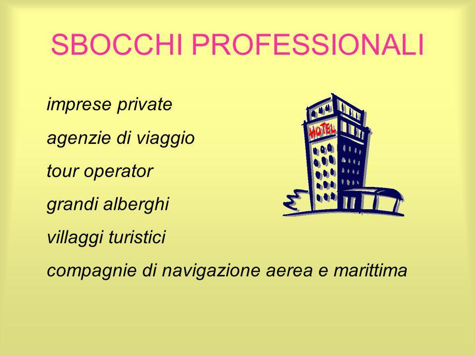 SBOCCHI PROFESSIONALI imprese private agenzie di viaggio tour operator grandi alberghi villaggi turistici compagnie di navigazione aerea e marittima