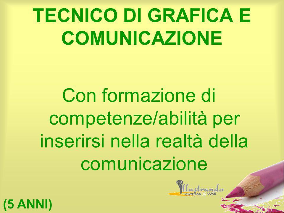 TECNICO DI GRAFICA E COMUNICAZIONE Con formazione di competenze/abilità per inserirsi nella realtà della comunicazione (5 ANNI)