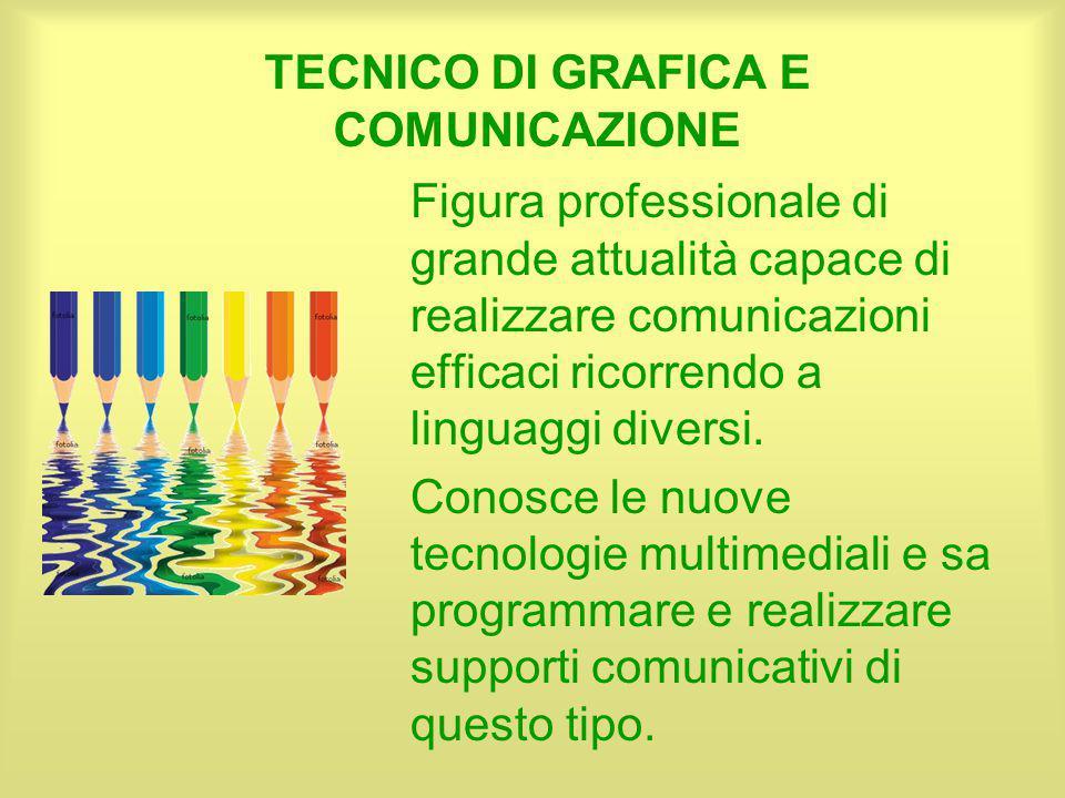TECNICO DI GRAFICA E COMUNICAZIONE Figura professionale di grande attualità capace di realizzare comunicazioni efficaci ricorrendo a linguaggi diversi