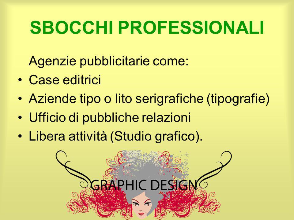 SBOCCHI PROFESSIONALI Agenzie pubblicitarie come: Case editrici Aziende tipo o lito serigrafiche (tipografie) Ufficio di pubbliche relazioni Libera at