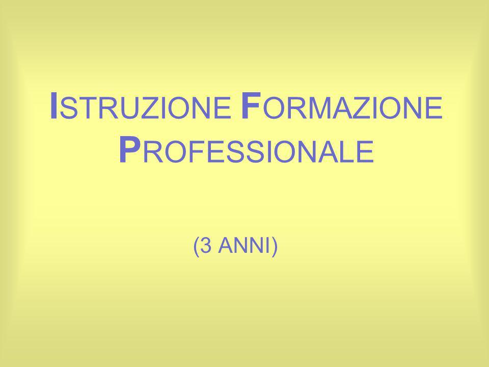 I STRUZIONE F ORMAZIONE P ROFESSIONALE (3 ANNI)