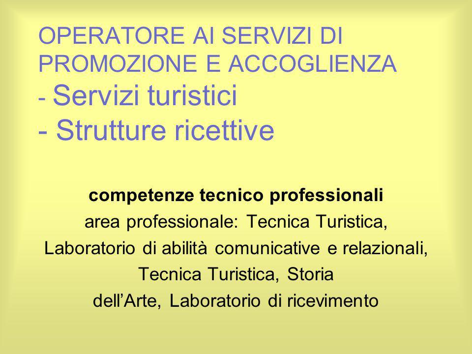 OPERATORE AI SERVIZI DI PROMOZIONE E ACCOGLIENZA - Servizi turistici - Strutture ricettive competenze tecnico professionali area professionale: Tecnic